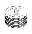 dollar coin stack icon image vector image vector image