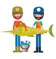fisherman fish and bucket fishes hobby vector image