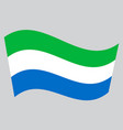 flag of sierra leone waving on gray background vector image vector image
