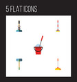 flat icon mop set of sweep bucket besom and vector image