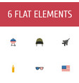 flat icons fire wax american banner soldier vector image vector image