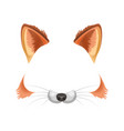 fox animal face filter template video chat photo vector image