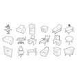 furniture icon set outline style vector image vector image