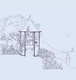 girl in arbor in the garden vector image vector image