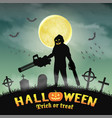 halloween killer with gatling gun and chainsaw vector image vector image