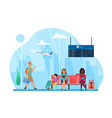 happy people travel wait at airport waiting area vector image
