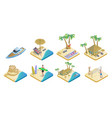 Isometric summer beach elements set