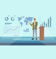 lecturer speaking on modern stage graph charts vector image vector image