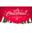 merry christmas tree and snow design on red vector image vector image