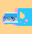 people on laptop bubble chat colorful interface vector image vector image