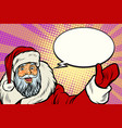 promoter santa claus with comic bubble vector image vector image