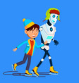 robot skates on ice with child in winter vector image