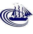 Sailing ship-4 vector image vector image