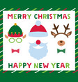 santa and elf hats deer antlers frame vector image