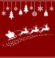 santa flying in a sleigh with reindeer vector image vector image