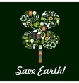 Save Earth poster environment protection symbol vector image vector image