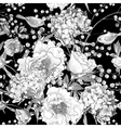 Seamless monochrome floral pattern with Birds vector image vector image