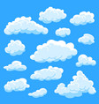 set cartoon clouds on blue background cloudy sky vector image