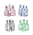 set hand drawn alcohol drink bottles and vector image vector image