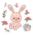 set hare and flowers hand drawing vector image vector image