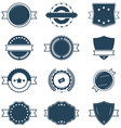 Set of blank blue and white retro labels vector image