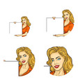 Set of round avatars with woman holds blank banner vector image