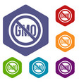 stop gmo icons set hexagon vector image vector image
