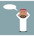 Surprised arabian businessman with speech bubble vector image vector image