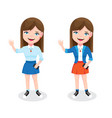 teen girl with smartphone and welcome gesture vector image vector image