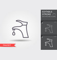 water faucet with drop line icon with editable vector image