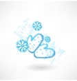 Winter mittens grunge icon vector image vector image