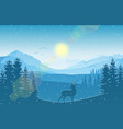 winter mountain landscape with deerfalling snow vector image vector image