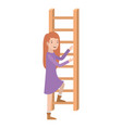 woman with wooden stair avatar character vector image vector image