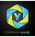 Y Letter colorful logo in the hexagonal on black vector image vector image