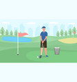 young spotsman playing golf against cityscape vector image