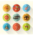 Birthday party flat icon set vector image