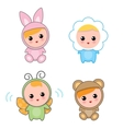 Babies Of Animal Suits vector image