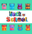 back to school poster with rucksacks and bags vector image vector image