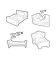 bed icon set outline style vector image vector image