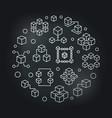blockchain circular modern silver linear vector image
