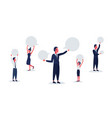 business people holding blank speech communication vector image