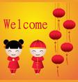 cartoon chinese boy amp girl greeting card vector image