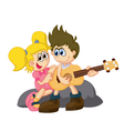 Cartoon little kid holding guitar vector image