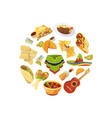 cartoon mexican food in circle shape vector image vector image