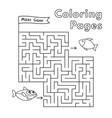 cartoon shark coloring book maze game vector image vector image