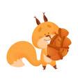 cartoon squirrel animal carrying lots acorns