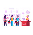 cashier at cash desk in supermarket vector image vector image