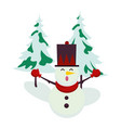 christmas snowman with pines trees character vector image vector image
