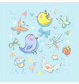 collection set of cute birthday party themed birds vector image