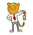 comic cartoon business cat with dead mouse vector image vector image
